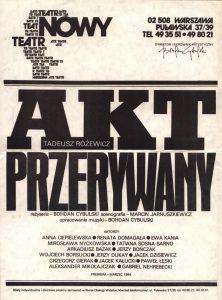 Akt przerywany, reżyseria Bohdan Cybulski, Teatr Nowy w Warszawie, 1984 r. (mały afisz)