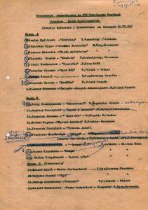 Propozycje repertuarowe, na XVI Wrocławski Festiwal Polskich Sztuk Współczesnych, omawiane na zebraniu Komitetu Organizacyjnego 13 lutego 1975 r.