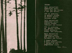 Fragment programu do sztuki Tadeusza Różewicza pt. Kartoteka z zamieszczonym w nim wierszem pt. Drzewo, reżyseria Tadeusz Minc, Teatr Polski (Scena Kameralna), Wrocław 1977 r.