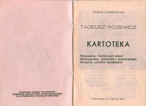 Strona tytułowa programu do sztuki Tadeusza Różewicza pt. Kartoteka, reżyseria Tadeusz Minc, Teatr Polski (Scena Kameralna), Wrocław 1977 r.