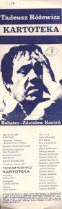 Ulotka wydana z okazji premiery sztuki Tadeusza Różewicza pt. Kartoteka, w reżyserii Tadeusza Minca, Teatr Polski (Scena Kameralna), Wrocław 1977 r. (awers)