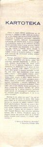 Ulotka wydana z okazji premiery sztuki Tadeusza Różewicza pt. Kartoteka, w reżyserii Tadeusza Minca, Teatr Polski (Scena Kameralna), Wrocław 1977 r. (rewers)