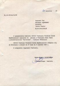 Oficjalne zaproszenie Teatru Studio z Warszawy, z przedstawieniem pt. Kartoteka Tadeusza Różewicza, na XXVIII Festiwal Polskich Sztuk Współczesnych, Wrocław 1989r.