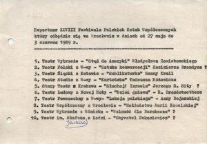 Repertuar XVIII Festiwalu Polskich Sztuk Współczesnych, Wrocław 1989 r.