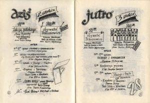 Fragment programu XXVIII Festiwalu Polskich Sztuk Współczesnych (3 czerwca g. 20:00 - Kartoteka Tadeusza Różewicza w inscenizacji Teatru Studio z Warszawy) zamieszczonego w pisemku festiwalowym pt. Foyer (nr 4 z 2 czerwca), Wrocław 1989 r.
