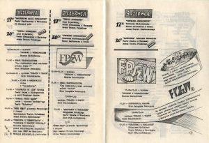 Fragment programu XXVIII Festiwalu Polskich Sztuk Współczesnych (3 czerwca g. 20:00 - Kartoteka Tadeusza Różewicza w inscenizacji Teatru Studio z Warszawy) zamieszczonego w pisemku festiwalowym pt. Foyer (nr 1), Wrocław 1989 r.