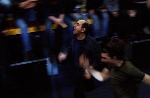 Kartoteka, reżyseria Michał Zadara, Wrocławski Teatr Współczesny. Na zdjęciu: (od lewej) Jan Peszek, Tomasz Cymerman, 2006 r.