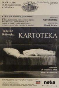 Kartoteka, reżyseria Krzysztof Rau, Teatr Ślaski im. St. Wyspiańskiego w Katowicach, 2001 r. (plakat)