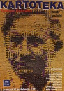 Kartoteka, reżyseria Krzysztof Galos, Teatr Polski im. Hieronima Konieczki w Bydgoszczy, proj. graf.: J. Soliński, J. Kaja, 2001 r. (plakat)