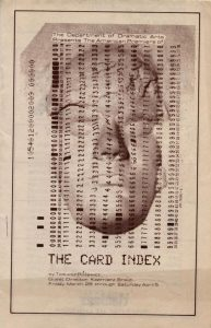 Okładka informatora sztuki Tadeusza Różewicza pt. The Card Index (Kartoteka) w reżyserii Kazimierza Brauna, Department of Dramatic Arts School of Fine Arts the University of Connecticut, 1980 r.