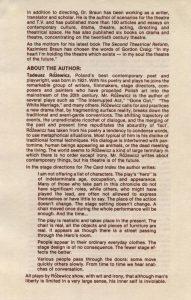Wkładka do informatora sztuki Tadeusza Różewicza pt. The Card Index (Kartoteka) w reżyserii Kazimierza Brauna, na której znajdują się krótkie biogramy reżysera i autora sztuki, Department of Dramatic Arts School of Fine Arts the University of Connecticut, 1980 r.