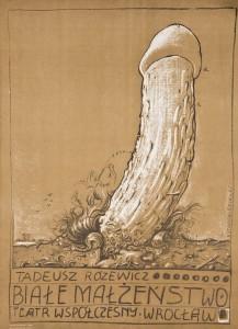 Białe małżeństwo Tadeusza Różewicza, reżyseria Kazimierz Braun, Teatr Współczesny we Wrocławiu, aut. plakatu Franciszek Starowieyski, 1975 r.