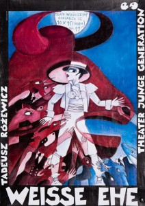 Weisse Ehe (Białe małżeństwo), reżyseria Gerald Gluth, występ gościnny Theater Junge Generation Dresden na deskach Teatru Współczesnego, 1995 r. (plakat)