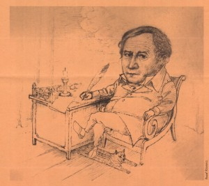 Karykatura Tadeusza Różewicza autorstwa Pawła Różewicza, bratanka poety.