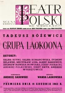Grupa Laokoona, reżyseria Wanda Laskowska, Teatr Polski we Wrocławiu, 1963 r. (afisz)