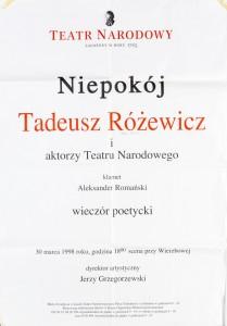 Tadeusz Różewicz, Niepokój, wieczór poetycki, Teatr Narodowy w Warszawie, 1998 r.
