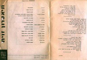 Obsada aktorska zamieszczona w programie sztuki T. Różewicza pt. Kartoteka wystawianej przez Teatr Zavit w Tel Avivie (reżyseria Konrad Swinarski), 1965 r.