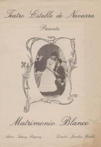 Okładka informatora sztuki Tadeusza Różewicza pt. Matrimonio Blanco (Białe małżeńśtwo), w reżyserii Jarosława Bielskiego, Teatro Estable de Navarra, Pamplona [1988] r.