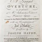 J.Haydn, A grand ouverture... Londyn ok.1791, nuty (Dz. Starych Druków)