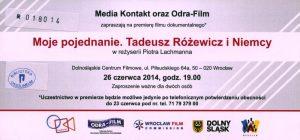 Moje pojednanie. Tadeusz Różewicz i Niemcy – film dokumentalny Piotra Lechmana, Dolnośląskie Centrum Filmowe, Wrocław 2014 r. (awers)