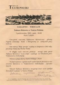 Uroczystość wręczenia Tadeuszowi Różewiczowi głównej Nagrody Literackiej Bośni i Hercegowiny za całokształt pracy twórczej, Teatr Polski we Wrocławiu, 2002 r. (afisz)