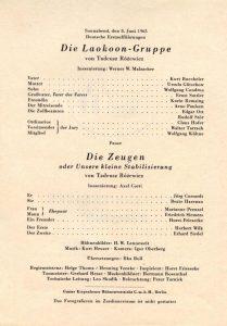 Ulotka z obsadami aktorskimi dwóch sztuk Tadeusza Różewicza pt.: premierowej Die Laokoon-Gruppe (Grupa Laokoona, reż. Werner W. Malzacher) i Die Zeugen oder Unsere kleine Stabilisierung (Świadkowie, albo nasza mała stabilizacja, reż. Axel Corti), Schiller-Theater Werkstatt, Berlin-Charlottenburg 1963 r.