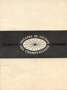 Okładka informatora Theatre du Studio des Champs-Élysées, [Paris 1966 r.]
