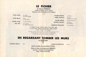 Obsada aktorska sztuki Tadeusza Różewicza pt. Le Fichier (Kartoteka), w reżyserii André-Louis Perinetti, Theatre du Studio des Champs-Élysées, [Paris 1966 r.]