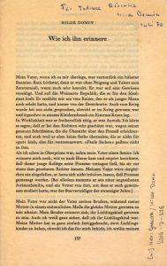 Dedykacja Hilde Domin dla Tadeusza Różewicza, umieszczona na nadbitce jej artykułu pt. Wie ich ihn erinnere: Für Tadeusz Różewicz Hilde Domin, Juli 70