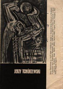 Okładka katalogu poświęconego twórczości Jerzego Tchórzewskiego, Centralne Biuro Wystaw Artystycznych w Warszawie, oprac. graf.: Roman Cieślewicz, Warszawa [1957] (w formie harmonijki)