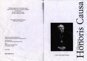 Strona tytułowa publikacji przygotowanej w związku z nadaniem tytułu Doktora honoris causa Uniwersytetu Opolskiego ks. kard. Karolowi Lehmanowi i ks. kard. Miloslavowi Vlkowi, Opole 2002 r. (kserokopia)