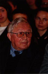 Tadeusz Różewicz, aut. fot. Andrzej Niedźwiecki, 6. 03. 2002 r.